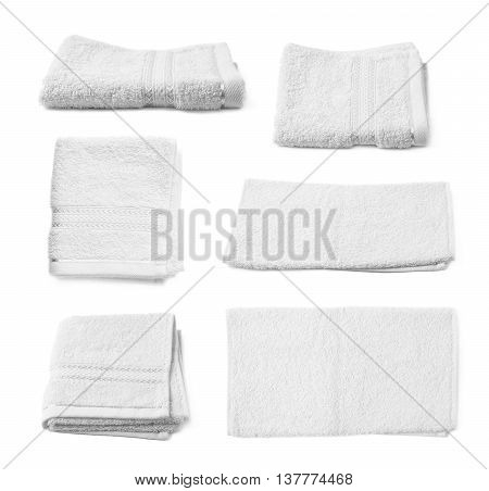 Single white terry cloth towel isolated over the white background, set collection of six different foreshortenings