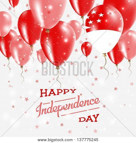 Singapore Vector Patriotic Poster. Independence Day Placard With Bright Colorful Balloons Of Country