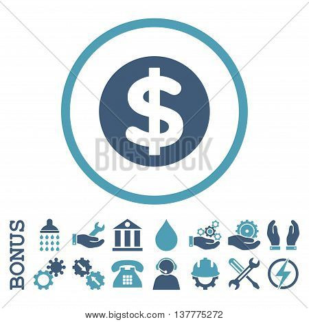 Finance glyph bicolor icon. Image style is a flat pictogram symbol inside a circle, cyan and blue colors, white background. Bonus images are included.