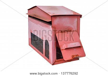 red mail box isolated on white background