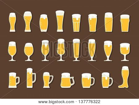 Vector flat icon beer with foam in mugs and glasses