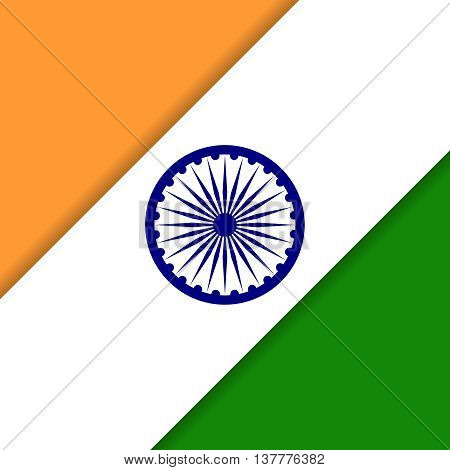 India Independence day. Vector diagonal background with Indian national flag, deep saffron, white and green colors. 15th of august design element with Dharma wheel