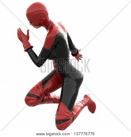 one tall woman in red black super suit. Woman stands sideways to camera. Sits on one knee and posing. 3D rendering, 3D illustration