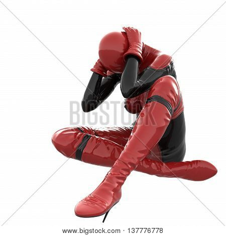 one tall woman in red black super suit. Woman sitting holding his hands behind his head. 3D rendering, 3D illustration