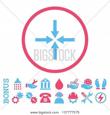 Impact Arrows glyph bicolor icon. Image style is a flat pictogram symbol inside a circle, pink and blue colors, white background. Bonus images are included.