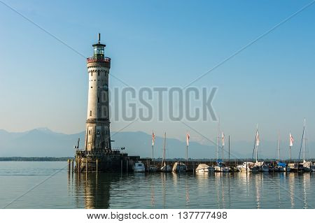 Harbor Of Lindau At Morning And Lighthouse In Lake Constance