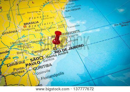 Red Thumbtack In A Map, Pushpin Pointing At Rio De Janeiro