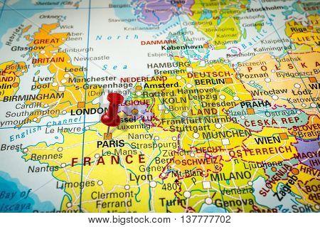Red Thumbtack In A Map, Pushpin Pointing At Paris