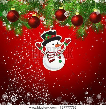 New Year design background. Template card whit red Christmas balls on the green branches . Silhouette of a Christmas tree made of stars. Falling snow. Toy decorative snowman.