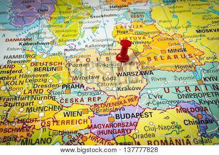 Red Thumbtack In A Map, Pushpin Pointing At Warsaw