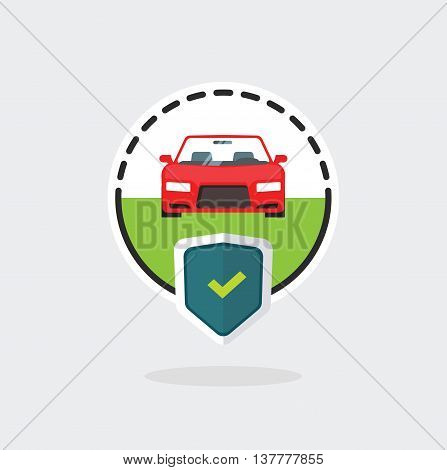 Car insurance logo isolated on blue background, automobile protected with shield, auto protection sign flat label badge