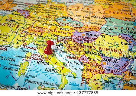 Red Thumbtack In A Map, Pushpin Pointing At Rome