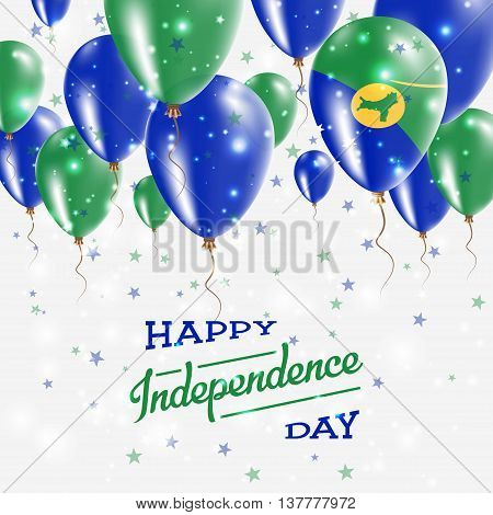 Christmas Island Vector Patriotic Poster. Independence Day Placard With Bright Colorful Balloons Of