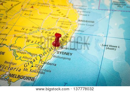 Red Thumbtack In A Map, Pushpin Pointing At Sydney