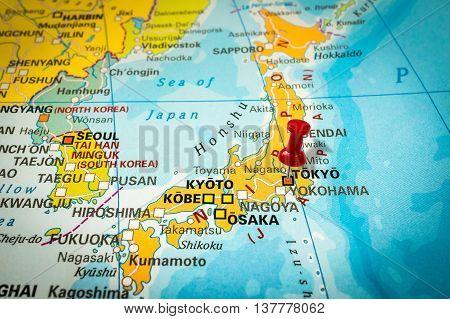 Red Thumbtack In A Map, Pushpin Pointing At Tokyo