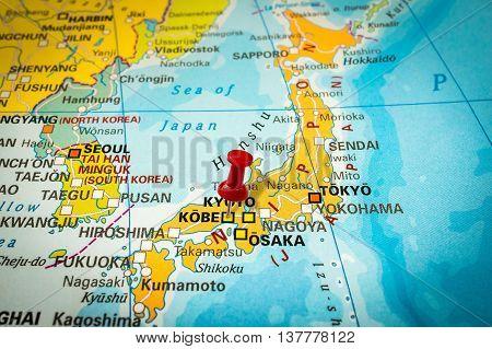 Red Thumbtack In A Map, Pushpin Pointing At Kobe
