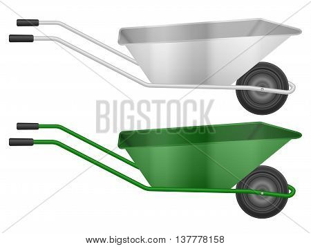 Construction wheelbarrow set on a white background. Vector illustration.
