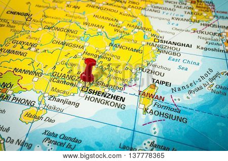 Red Thumbtack In A Map, Pushpin Pointing At Shenzhen