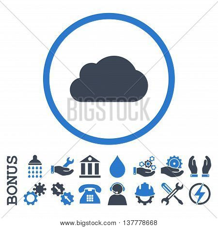Cloud glyph bicolor icon. Image style is a flat pictogram symbol inside a circle, smooth blue colors, white background. Bonus images are included.