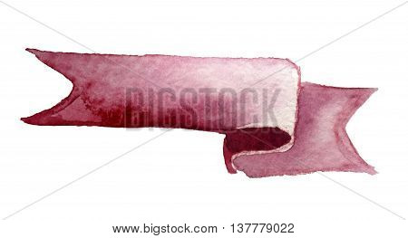 watercolor ribbon for design on a white background