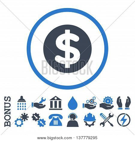 Finance glyph bicolor icon. Image style is a flat pictogram symbol inside a circle, smooth blue colors, white background. Bonus images are included.
