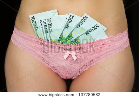 Female Body With The Euro Money Banknotes In Their Underwear Pan