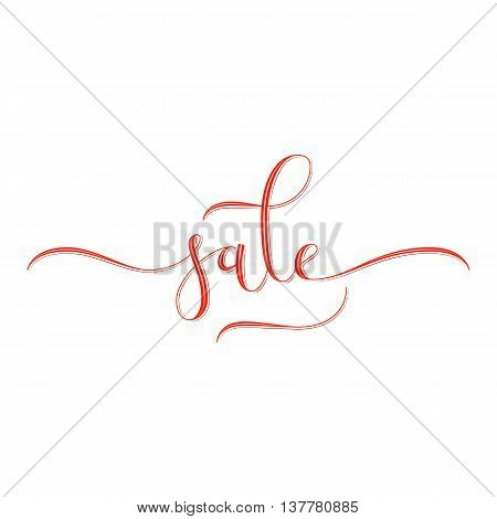 Sale hand lettering, modern calligraphy style. Red hand-drawn letters with shading and highlights isolated on white background. Vector illustration.