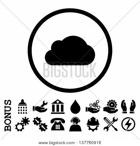 Cloud glyph icon. Image style is a flat pictogram symbol inside a circle, black color, white background. Bonus images are included.
