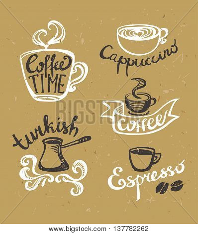 Coffee hand drawn Labels. Logo template collection. Vector icons on the crafted paper.
