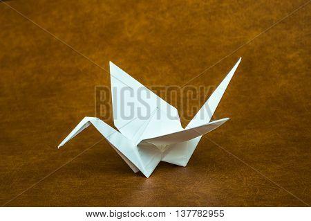 Origami White Paper Crane