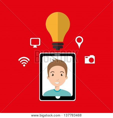 Smartphone and man isolated icon design, vector illustration  graphic