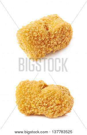 Breaded crab ball isolated over the white background, set of two different foreshortenings