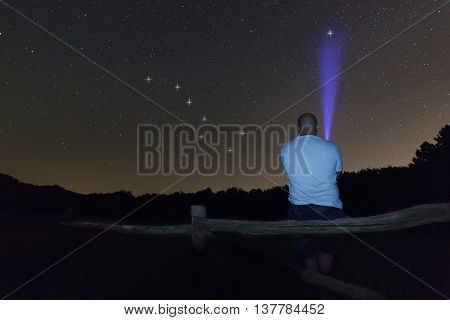 Man with a flashlight pointing to Polaris star. North star. Starry night Ursa Major, Big Dipper constellation. Beautiful night sky. Clear sky concept and background.