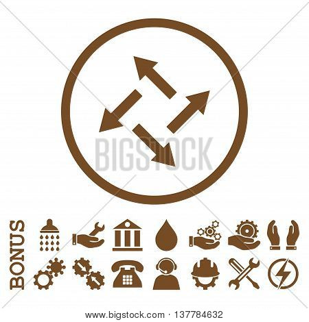 Centrifugal Arrows glyph icon. Image style is a flat pictogram symbol inside a circle, brown color, white background. Bonus images are included.