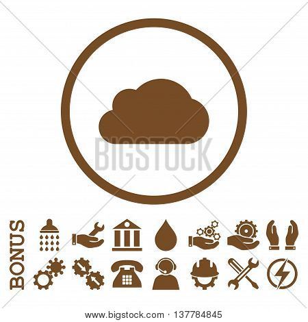 Cloud glyph icon. Image style is a flat pictogram symbol inside a circle, brown color, white background. Bonus images are included.