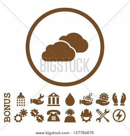 Clouds glyph icon. Image style is a flat pictogram symbol inside a circle, brown color, white background. Bonus images are included.