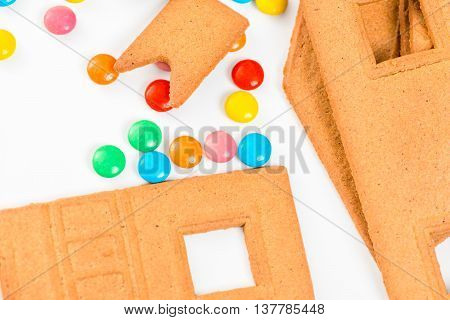 details of the Gingerbread House for homemade closeup