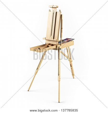 portable wooden  easel isolated 3d rendering
