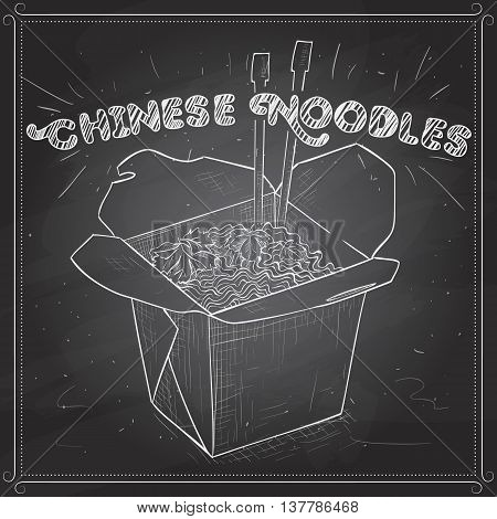 chinese noodles box scetch on a black board. Vector illustration, EPS 10