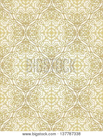 Vector Seamless Pattern With Golden Ornaments.