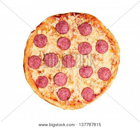 Hot Homemade Pepperoni Pizza . Isolated on white background with clipping path included