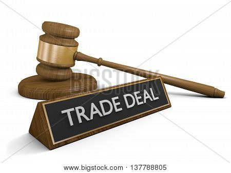 Legislation dealing with foreign trade deal agreements, 3D rendering