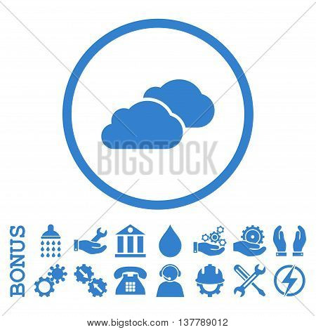 Clouds glyph icon. Image style is a flat pictogram symbol inside a circle, cobalt color, white background. Bonus images are included.