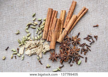 Star Anise Cardamom Nutmeg Cinnamon Ginger Clove Spice Canvas