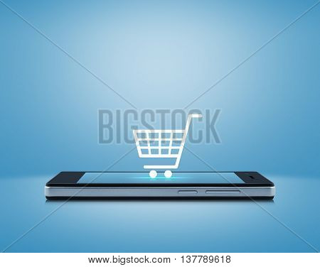 Shopping cart icon on modern smart phone screen over light blue background Shop online concept