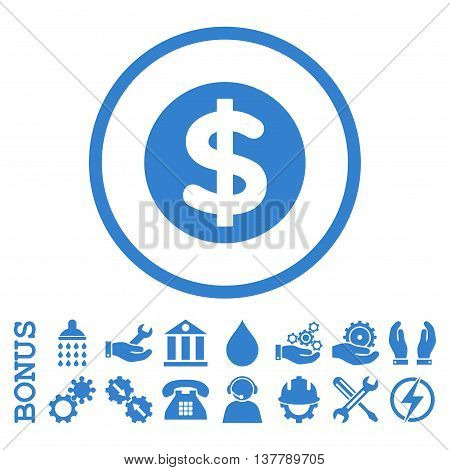 Finance glyph icon. Image style is a flat pictogram symbol inside a circle, cobalt color, white background. Bonus images are included.