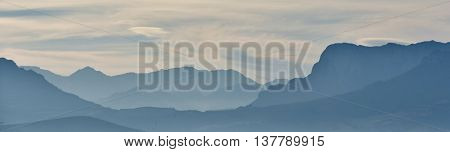 Landscape with the Hottentots Holland Mountains in morning light