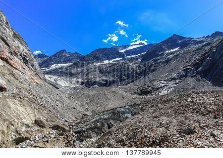 Panorama View Of Tre-la-tete Glacier In French Alps
