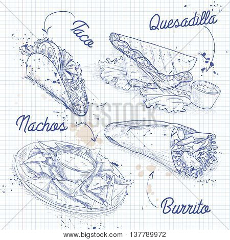 Scetch of mexican food on a notebook page. Vector illustration, EPS 10