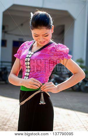 SON LA, VIET NAM, April 16, 2016 Thai ethnic females Immolation, highland Son La, Vietnam, traditional costume beauty